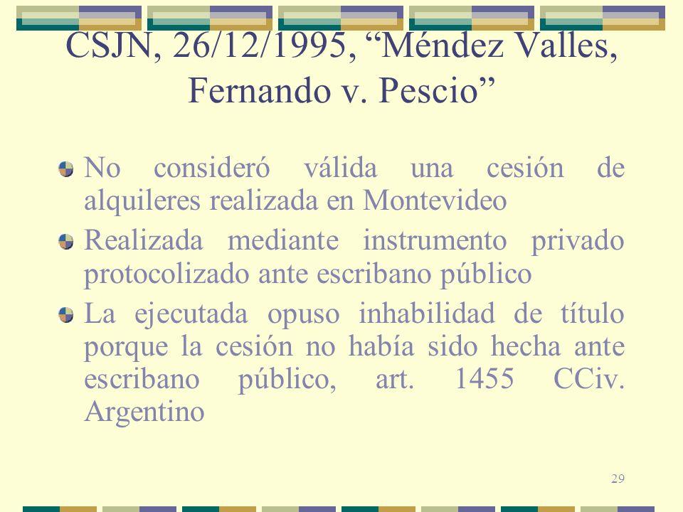 29 CSJN, 26/12/1995, Méndez Valles, Fernando v. Pescio No consideró válida una cesión de alquileres realizada en Montevideo Realizada mediante instrum