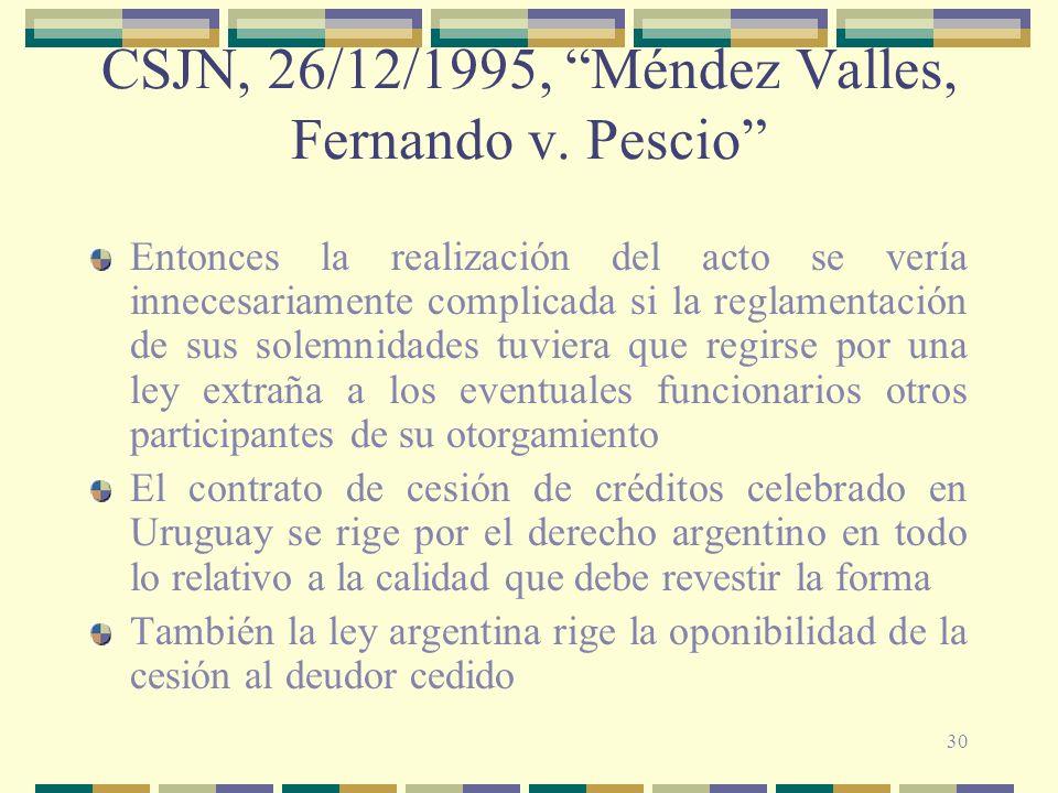 30 CSJN, 26/12/1995, Méndez Valles, Fernando v. Pescio Entonces la realización del acto se vería innecesariamente complicada si la reglamentación de s
