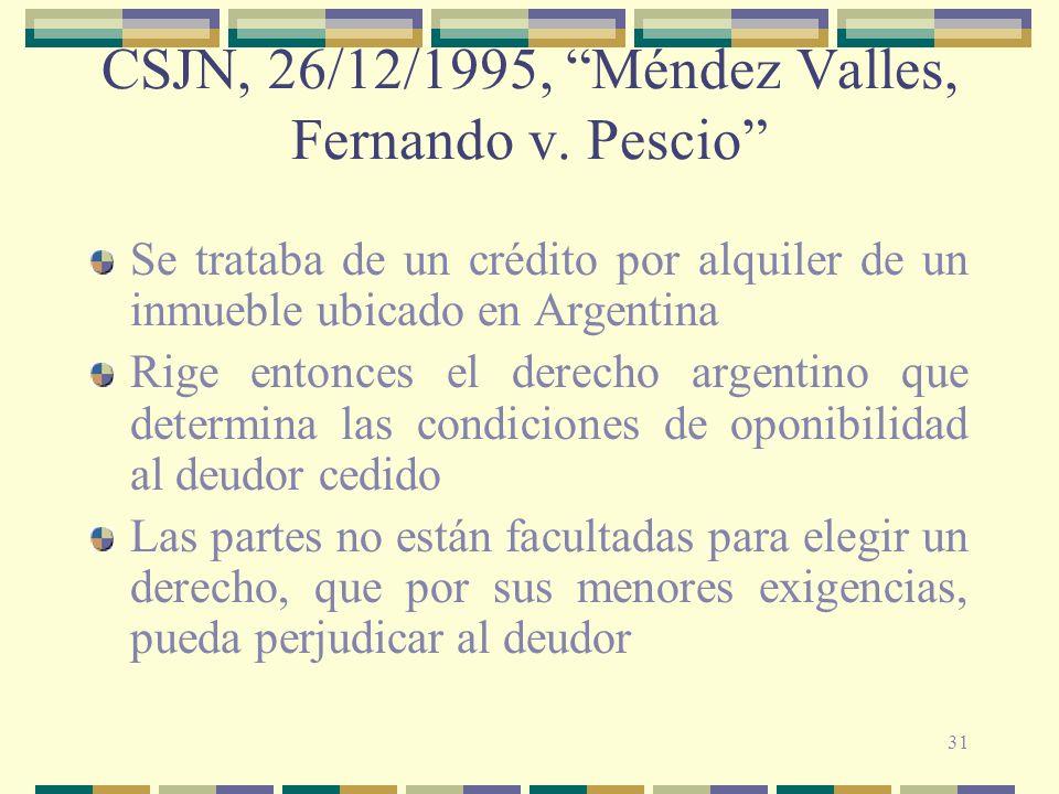 31 CSJN, 26/12/1995, Méndez Valles, Fernando v. Pescio Se trataba de un crédito por alquiler de un inmueble ubicado en Argentina Rige entonces el dere