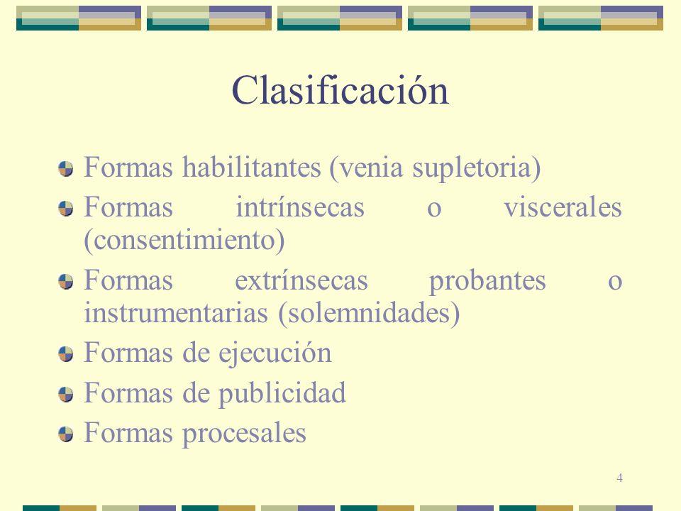 4 Clasificación Formas habilitantes (venia supletoria) Formas intrínsecas o viscerales (consentimiento) Formas extrínsecas probantes o instrumentarias