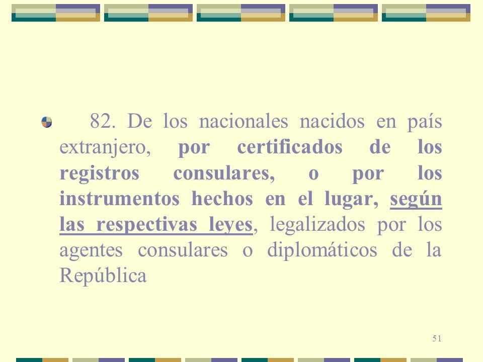51 82. De los nacionales nacidos en país extranjero, por certificados de los registros consulares, o por los instrumentos hechos en el lugar, según la