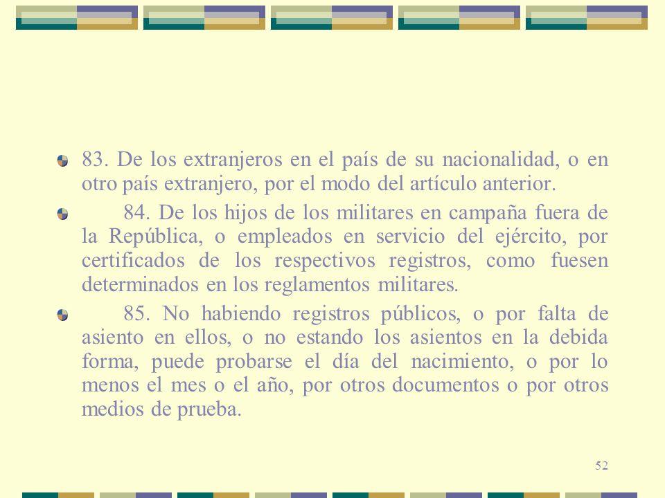 52 83. De los extranjeros en el país de su nacionalidad, o en otro país extranjero, por el modo del artículo anterior. 84. De los hijos de los militar