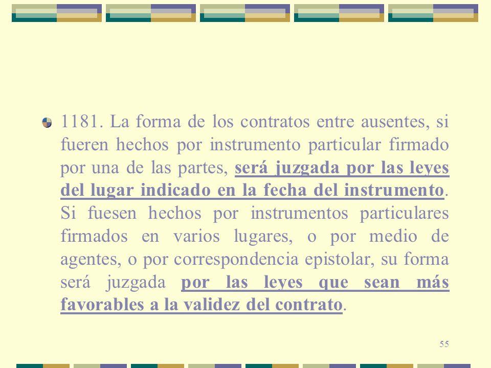 55 1181. La forma de los contratos entre ausentes, si fueren hechos por instrumento particular firmado por una de las partes, será juzgada por las ley