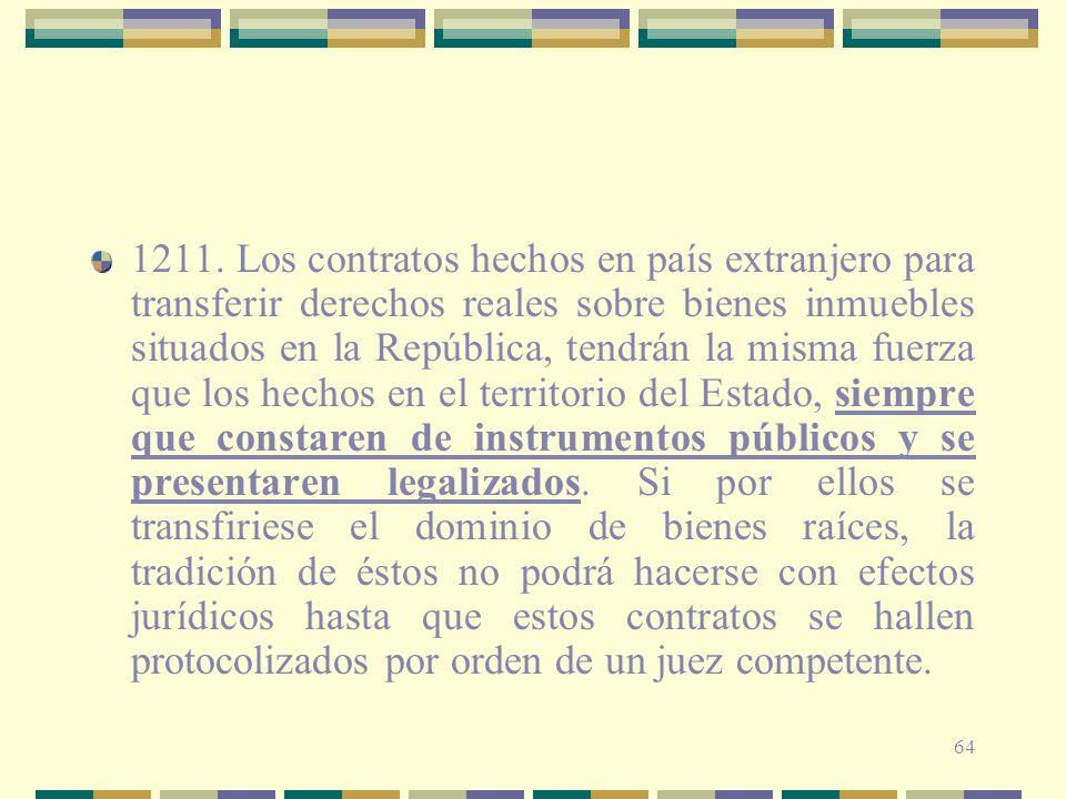 64 1211. Los contratos hechos en país extranjero para transferir derechos reales sobre bienes inmuebles situados en la República, tendrán la misma fue