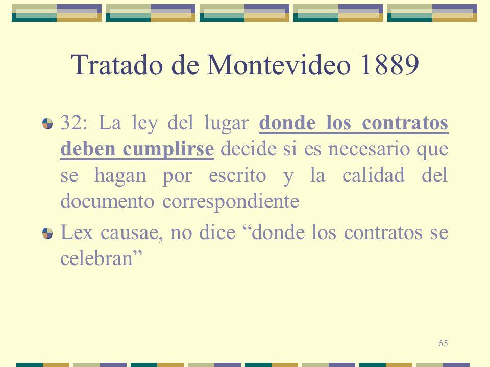 65 Tratado de Montevideo 1889 32: La ley del lugar donde los contratos deben cumplirse decide si es necesario que se hagan por escrito y la calidad de