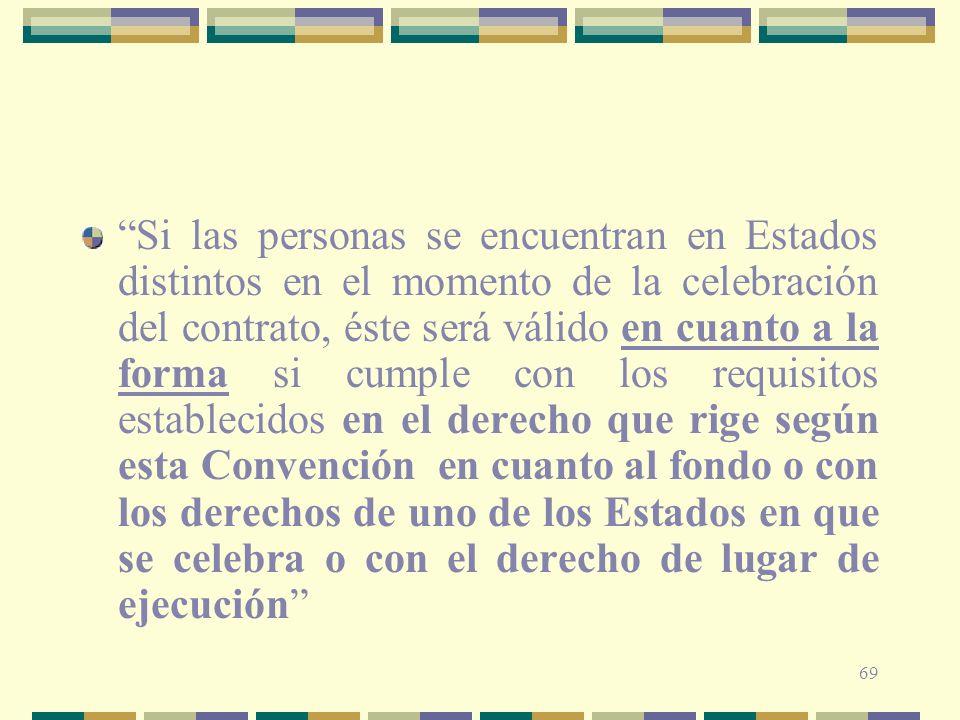 69 Si las personas se encuentran en Estados distintos en el momento de la celebración del contrato, éste será válido en cuanto a la forma si cumple co
