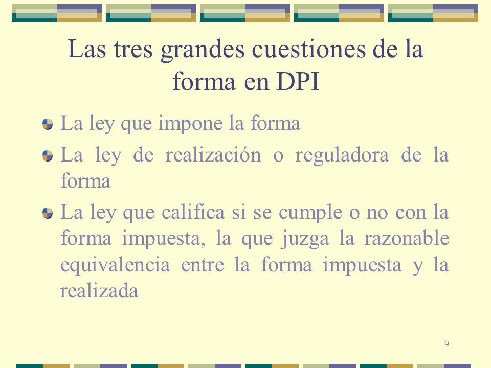 9 Las tres grandes cuestiones de la forma en DPI La ley que impone la forma La ley de realización o reguladora de la forma La ley que califica si se c