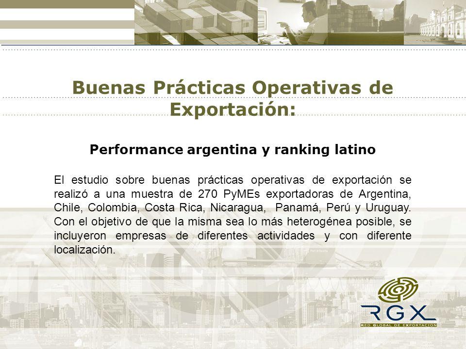 Buenas Prácticas Operativas de Exportación: Performance argentina y ranking latino El estudio sobre buenas prácticas operativas de exportación se realizó a una muestra de 270 PyMEs exportadoras de Argentina, Chile, Colombia, Costa Rica, Nicaragua, Panamá, Perú y Uruguay.