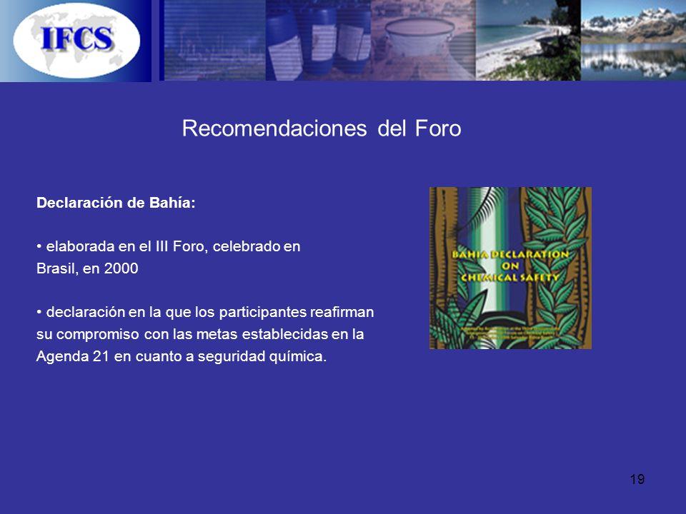 19 Recomendaciones del Foro Declaración de Bahía: elaborada en el III Foro, celebrado en Brasil, en 2000 declaración en la que los participantes reafi