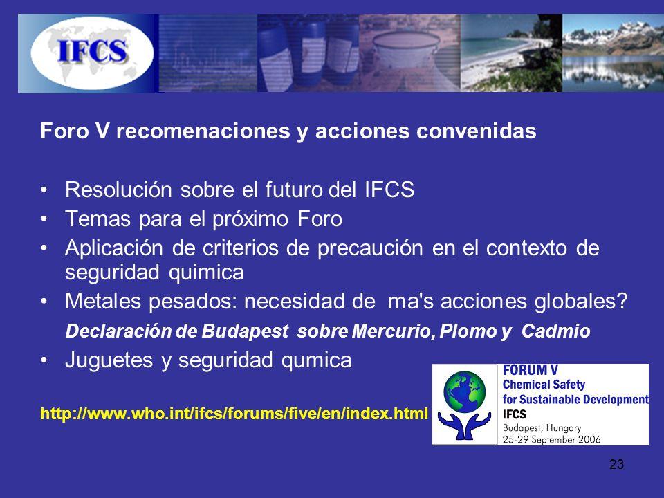 23 Foro V recomenaciones y acciones convenidas Resolución sobre el futuro del IFCS Temas para el próximo Foro Aplicación de criterios de precaución en