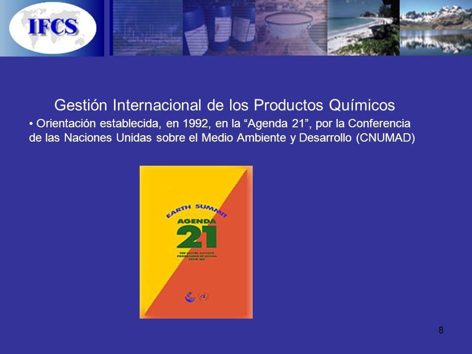 8 Gestión Internacional de los Productos Químicos Orientación establecida, en 1992, en la Agenda 21, por la Conferencia de las Naciones Unidas sobre e