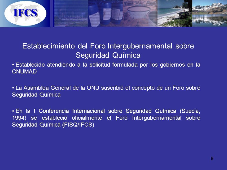9 Establecimiento del Foro Intergubernamental sobre Seguridad Química Establecido atendiendo a la solicitud formulada por los gobiernos en la CNUMAD L
