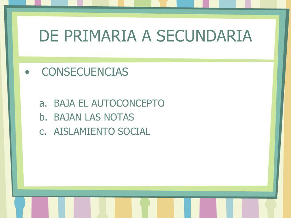 DE PRIMARIA A SECUNDARIA CONSECUENCIAS a.BAJA EL AUTOCONCEPTO b.BAJAN LAS NOTAS c.AISLAMIENTO SOCIAL