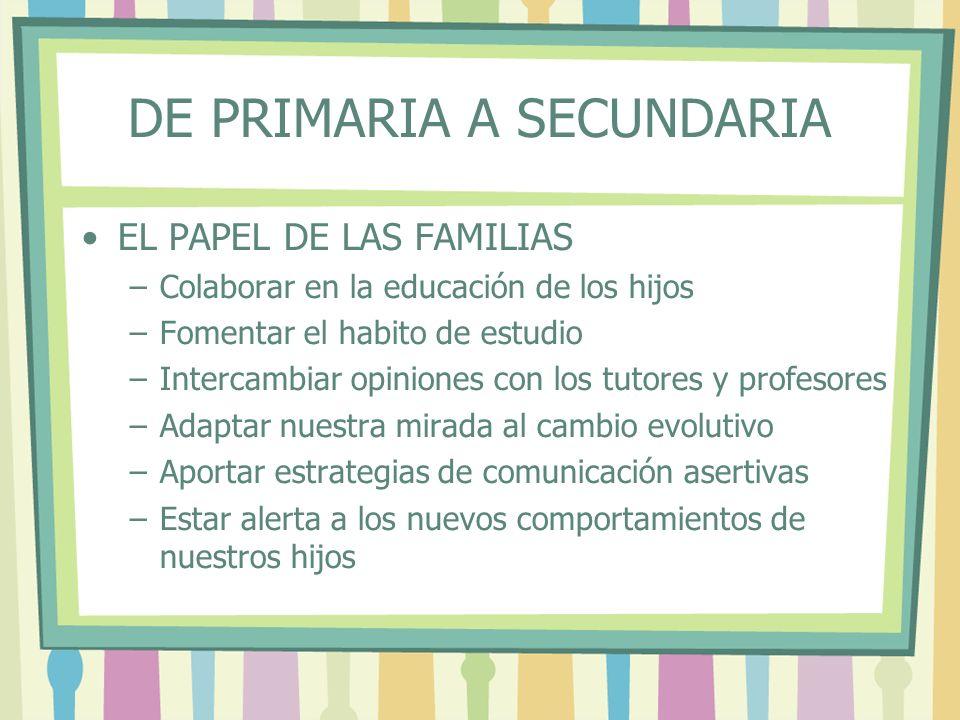DE PRIMARIA A SECUNDARIA EL PAPEL DE LAS FAMILIAS –Colaborar en la educación de los hijos –Fomentar el habito de estudio –Intercambiar opiniones con l