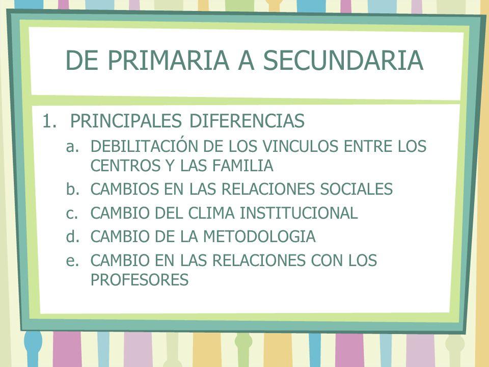 DE PRIMARIA A SECUNDARIA 1.PRINCIPALES DIFERENCIAS a.DEBILITACIÓN DE LOS VINCULOS ENTRE LOS CENTROS Y LAS FAMILIA b.CAMBIOS EN LAS RELACIONES SOCIALES