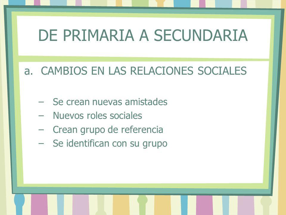 DE PRIMARIA A SECUNDARIA a.CAMBIOS EN LAS RELACIONES SOCIALES –Se crean nuevas amistades –Nuevos roles sociales –Crean grupo de referencia –Se identif