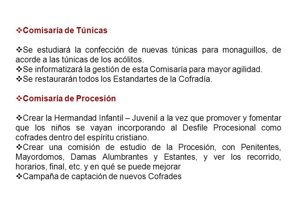 Comisaría de Túnicas Se estudiará la confección de nuevas túnicas para monaguillos, de acorde a las túnicas de los acólitos. Se informatizará la gesti
