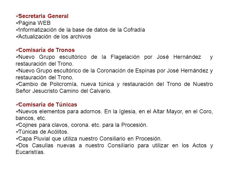 Secretaria General Página WEB Informatización de la base de datos de la Cofradía Actualización de los archivos Comisaría de Tronos Nuevo Grupo escultó