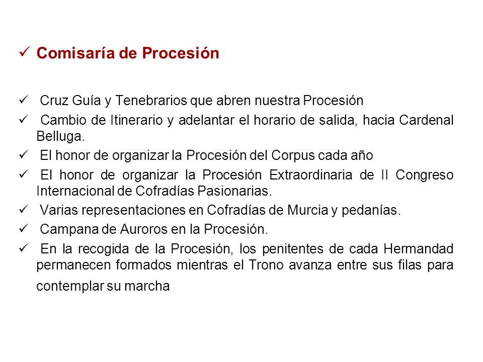 Comisaría de Procesión Cruz Guía y Tenebrarios que abren nuestra Procesión Cambio de Itinerario y adelantar el horario de salida, hacia Cardenal Bellu