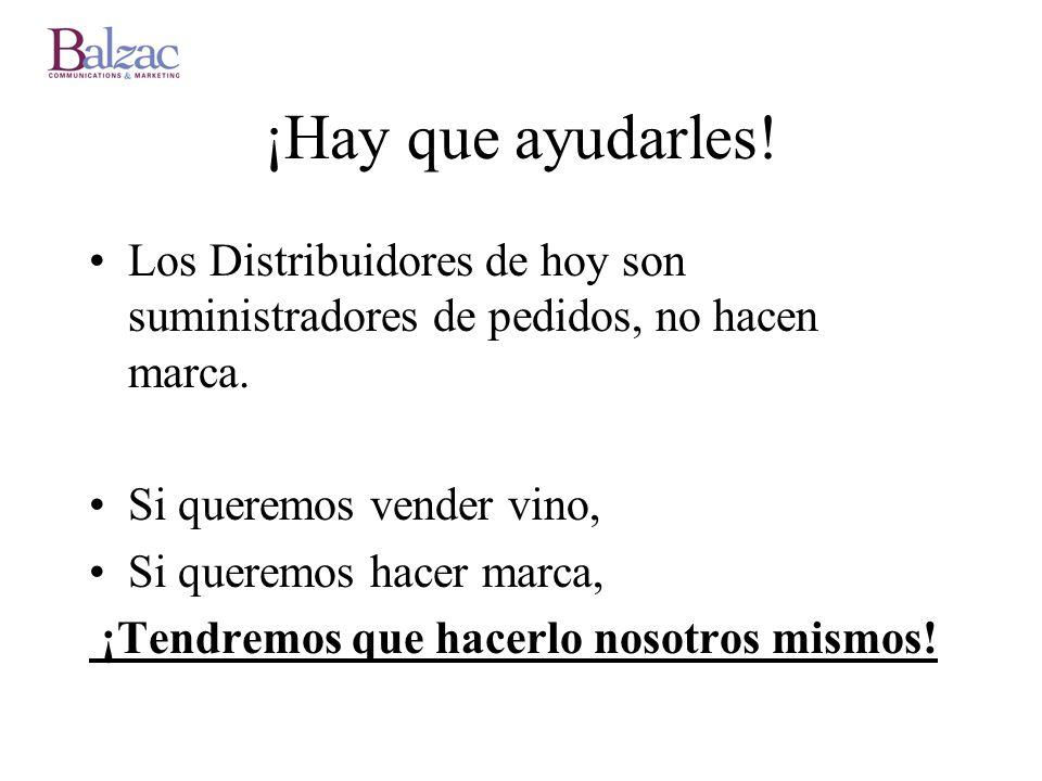 ¡Hay que ayudarles! Los Distribuidores de hoy son suministradores de pedidos, no hacen marca. Si queremos vender vino, Si queremos hacer marca, ¡Tendr