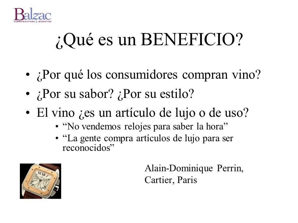 ¿Qué es un BENEFICIO? ¿Por qué los consumidores compran vino? ¿Por su sabor? ¿Por su estilo? El vino ¿es un artículo de lujo o de uso? No vendemos rel
