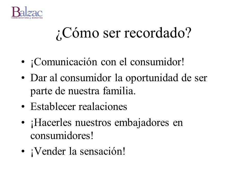 ¿Cómo ser recordado? ¡Comunicación con el consumidor! Dar al consumidor la oportunidad de ser parte de nuestra familia. Establecer realaciones ¡Hacerl