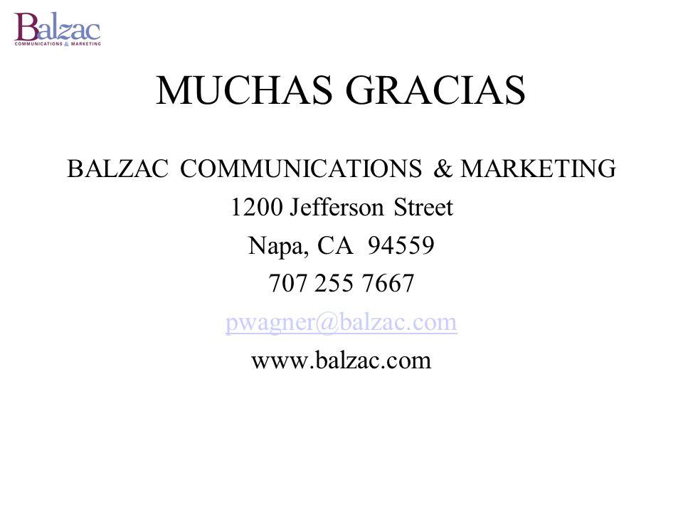 MUCHAS GRACIAS BALZAC COMMUNICATIONS & MARKETING 1200 Jefferson Street Napa, CA 94559 707 255 7667 pwagner@balzac.com www.balzac.com