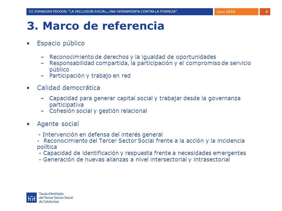 8 3. Marco de referencia Espacio público –Reconocimiento de derechos y la igualdad de oportunidades –Responsabilidad compartida, la participación y el