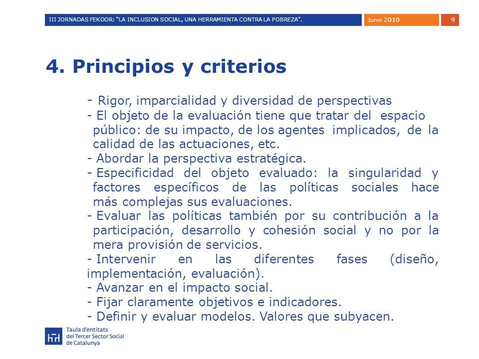 9 4. Principios y criterios - Rigor, imparcialidad y diversidad de perspectivas - El objeto de la evaluación tiene que tratar del espacio público: de