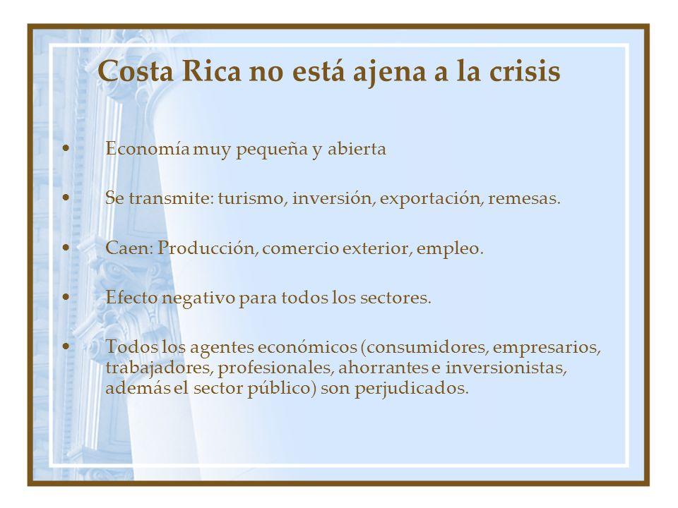 Costa Rica no está ajena a la crisis Economía muy pequeña y abierta Se transmite: turismo, inversión, exportación, remesas. Caen: Producción, comercio