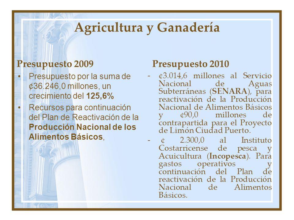 Agricultura y Ganadería Presupuesto 2009 Presupuesto por la suma de ¢36.246,0 millones, un crecimiento del 125,6% Recursos para continuación del Plan