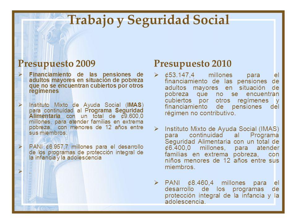 Trabajo y Seguridad Social Presupuesto 2009 Financiamiento de las pensiones de adultos mayores en situación de pobreza que no se encuentran cubiertos