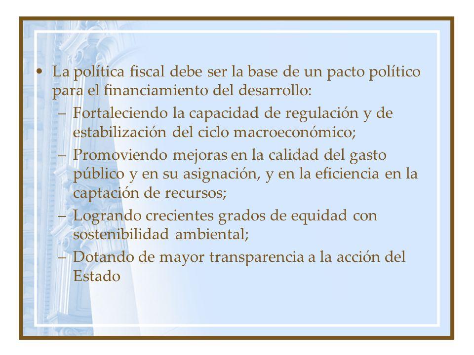 La política fiscal debe ser la base de un pacto político para el financiamiento del desarrollo: –Fortaleciendo la capacidad de regulación y de estabil