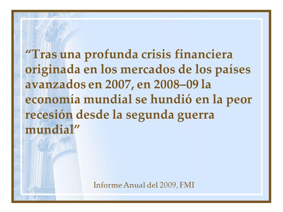 Tras una profunda crisis financiera originada en los mercados de los países avanzados en 2007, en 2008–09 la economía mundial se hundió en la peor rec