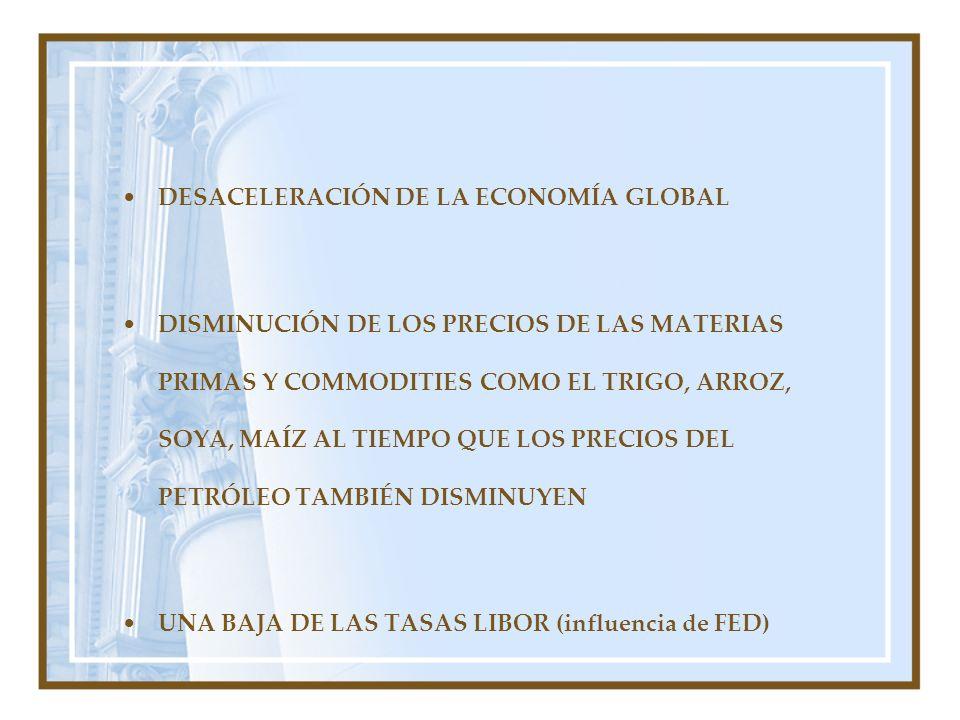 DESACELERACIÓN DE LA ECONOMÍA GLOBAL DISMINUCIÓN DE LOS PRECIOS DE LAS MATERIAS PRIMAS Y COMMODITIES COMO EL TRIGO, ARROZ, SOYA, MAÍZ AL TIEMPO QUE LO