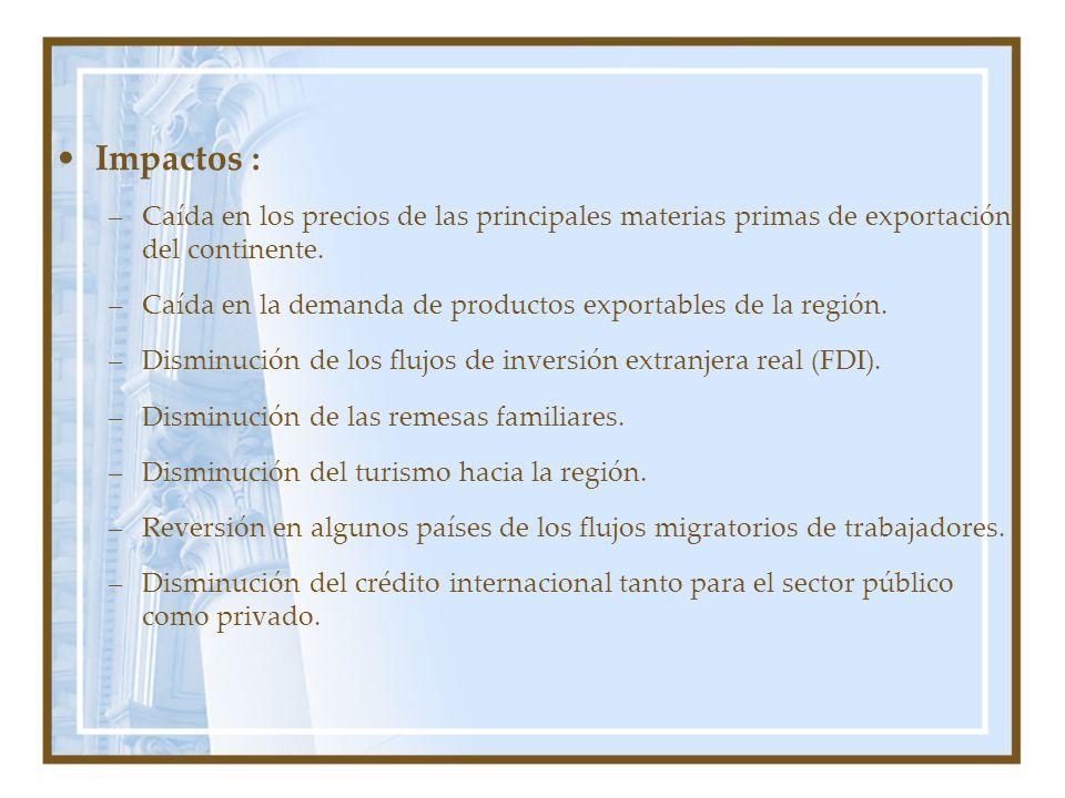Impactos : –Caída en los precios de las principales materias primas de exportación del continente. –Caída en la demanda de productos exportables de la