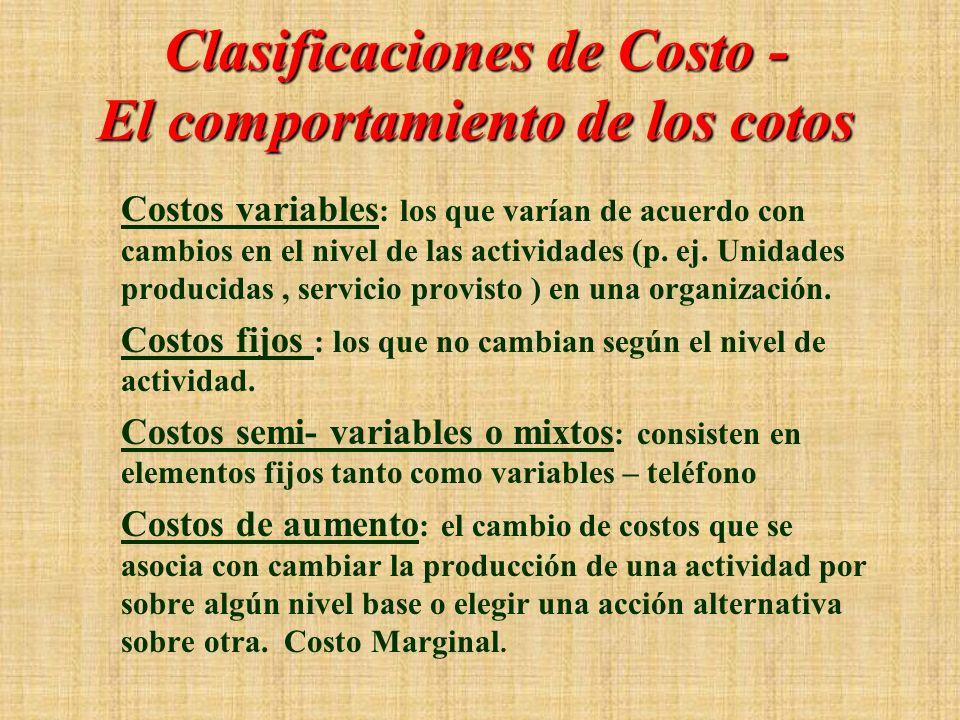 Clasificaciones de Costos – Estados Financieros Costos de productos : los costos de producción que son incluidos en las cuentas de inventario. También