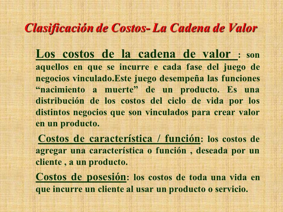 Clasificaciones de Costos – Control Un costo controlable : es uno sujeto principalmente a la influencia de un gerente o empleado. Costos directos : so