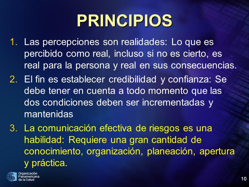 Organización Panamericana de la Salud 10 PRINCIPIOS 1.Las percepciones son realidades: Lo que es percibido como real, incluso si no es cierto, es real