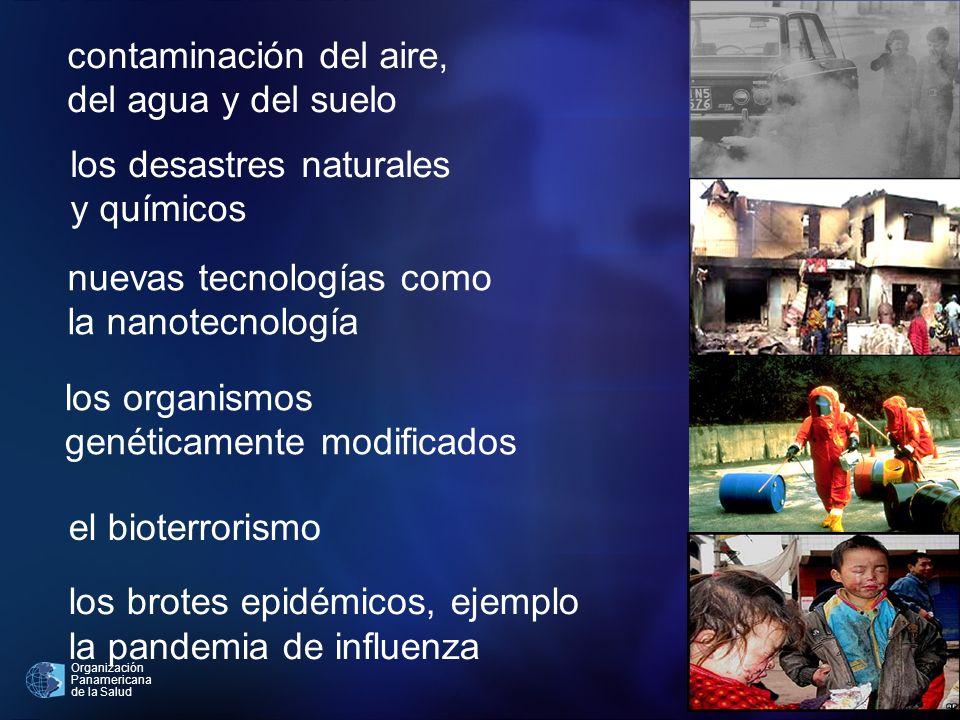 Organización Panamericana de la Salud contaminación del aire, del agua y del suelo nuevas tecnologías como la nanotecnología el bioterrorismo los orga