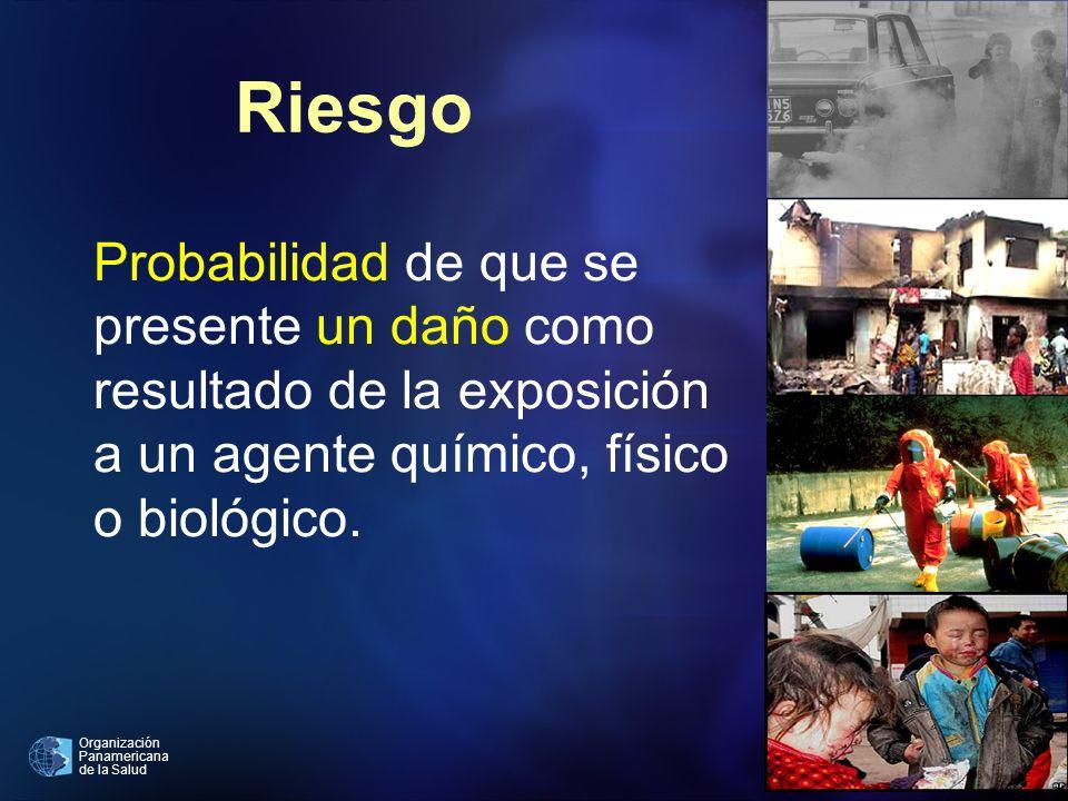 Organización Panamericana de la Salud Riesgo Probabilidad de que se presente un daño como resultado de la exposición a un agente químico, físico o bio