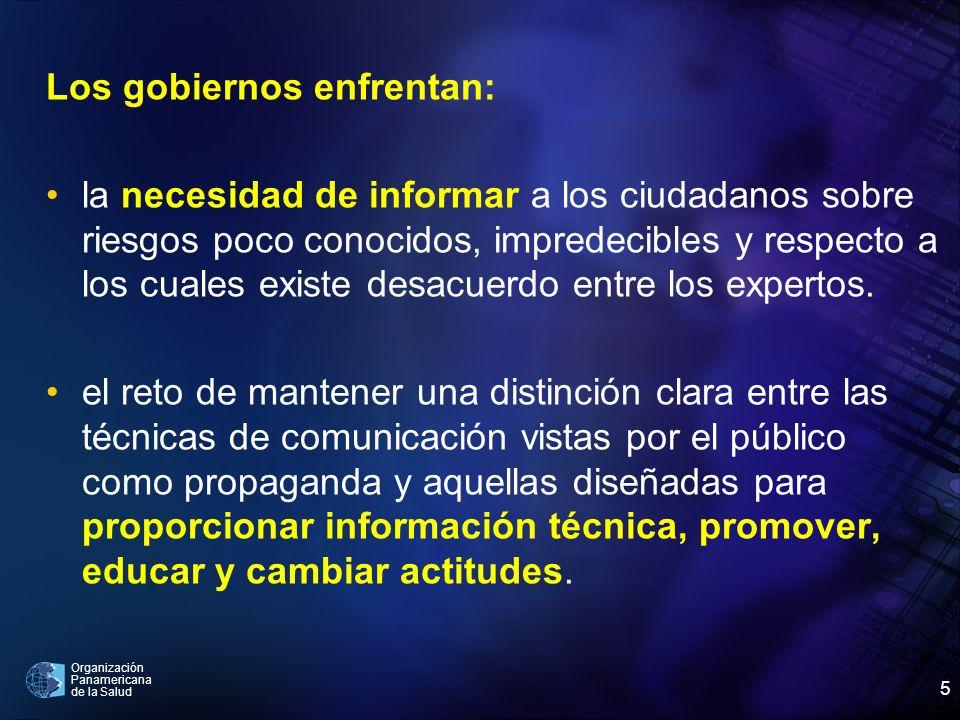 Organización Panamericana de la Salud 5 Los gobiernos enfrentan: la necesidad de informar a los ciudadanos sobre riesgos poco conocidos, impredecibles
