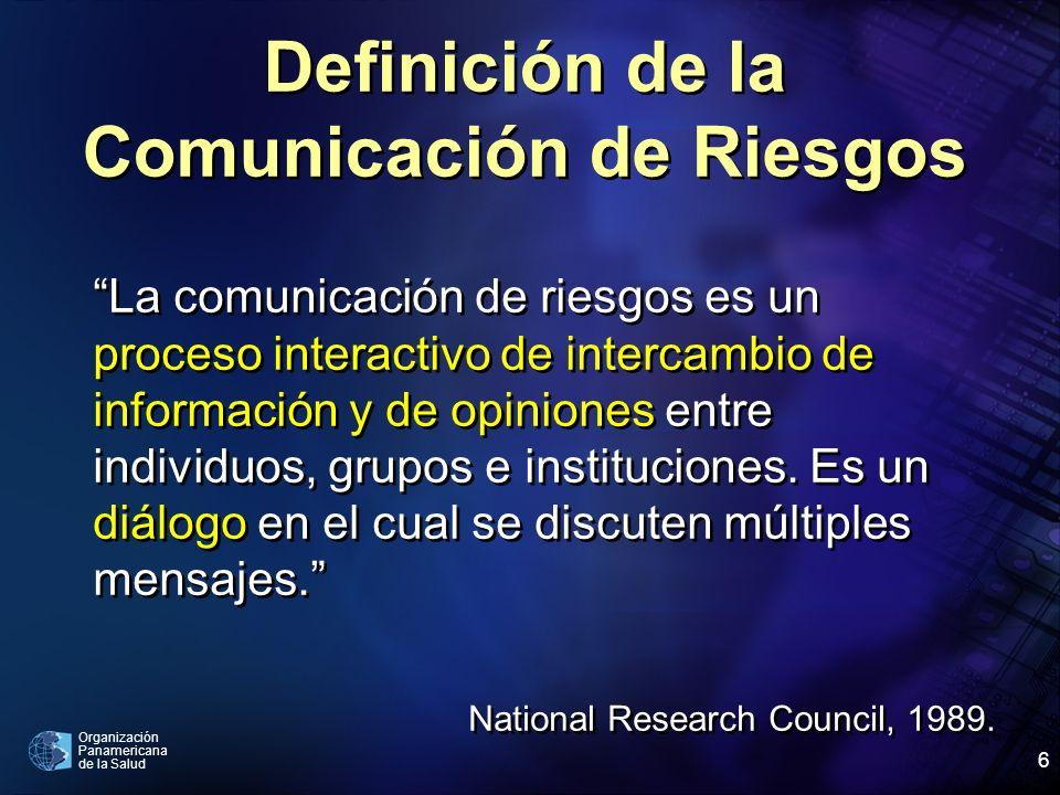 Organización Panamericana de la Salud 6 Definición de la Comunicación de Riesgos La comunicación de riesgos es un proceso interactivo de intercambio d