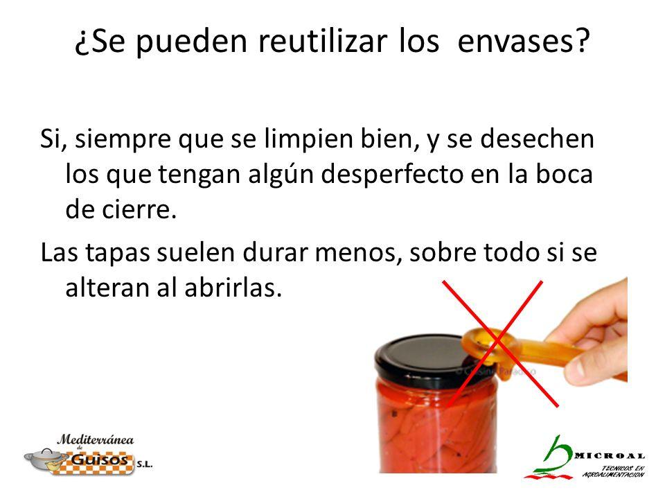 ¿Se pueden reutilizar los envases? Si, siempre que se limpien bien, y se desechen los que tengan algún desperfecto en la boca de cierre. Las tapas sue
