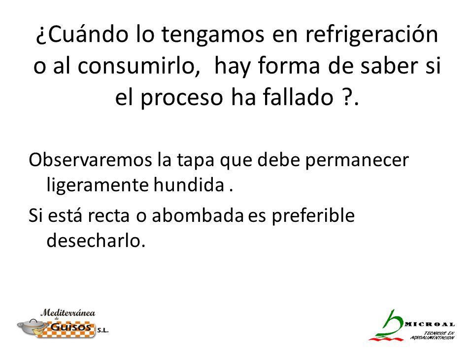 ¿Cuándo lo tengamos en refrigeración o al consumirlo, hay forma de saber si el proceso ha fallado ?. Observaremos la tapa que debe permanecer ligerame