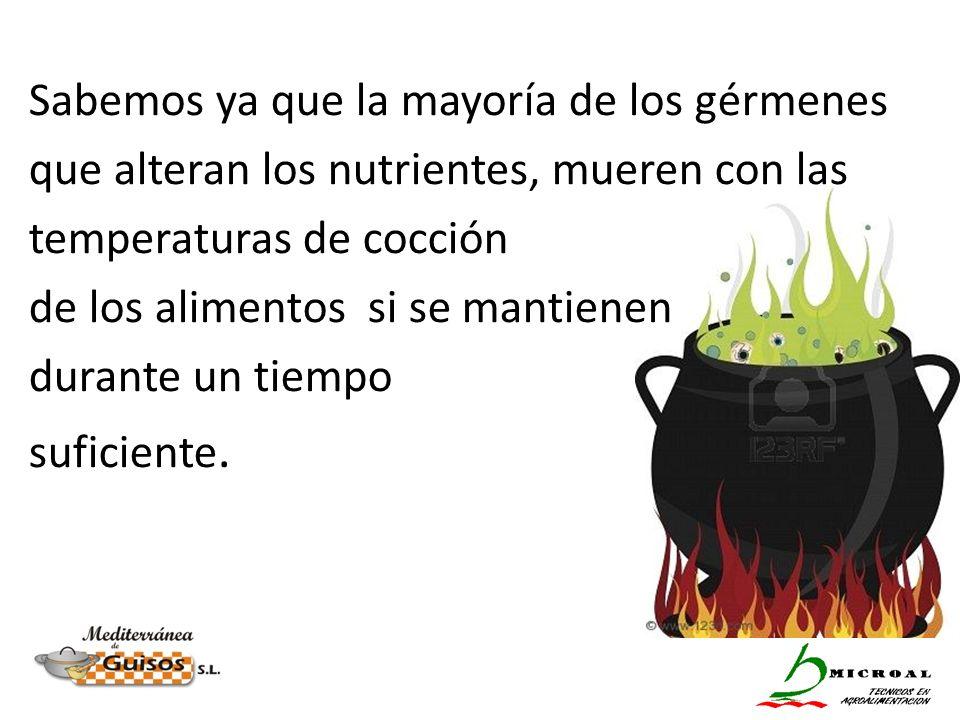 Sabemos ya que la mayoría de los gérmenes que alteran los nutrientes, mueren con las temperaturas de cocción de los alimentos si se mantienen durante