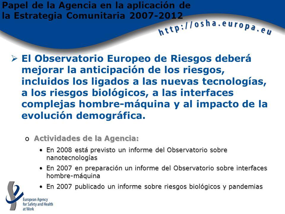 El Observatorio Europeo de Riesgos deberá mejorar la anticipación de los riesgos, incluidos los ligados a las nuevas tecnologías, a los riesgos biológicos, a las interfaces complejas hombre-máquina y al impacto de la evolución demográfica.