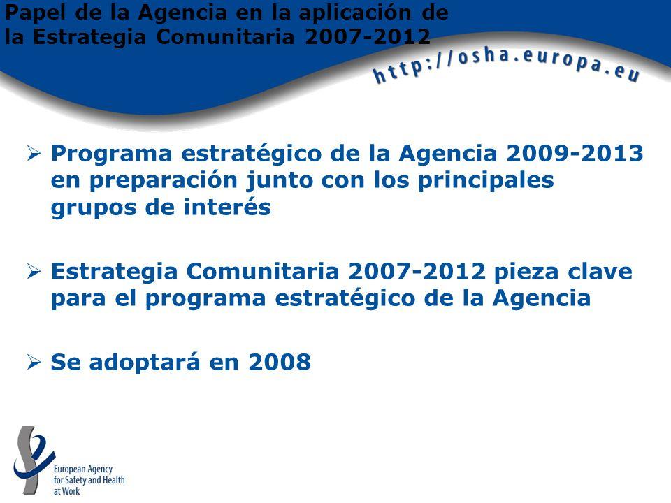 Programa estratégico de la Agencia 2009-2013 en preparación junto con los principales grupos de interés Estrategia Comunitaria 2007-2012 pieza clave para el programa estratégico de la Agencia Se adoptará en 2008 Papel de la Agencia en la aplicación de la Estrategia Comunitaria 2007-2012