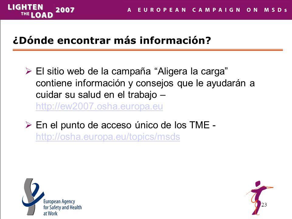 23 El sitio web de la campaña Aligera la carga contiene información y consejos que le ayudarán a cuidar su salud en el trabajo – http://ew2007.osha.europa.eu http://ew2007.osha.europa.eu En el punto de acceso único de los TME - http://osha.europa.eu/topics/msds http://osha.europa.eu/topics/msds ¿Dónde encontrar más información