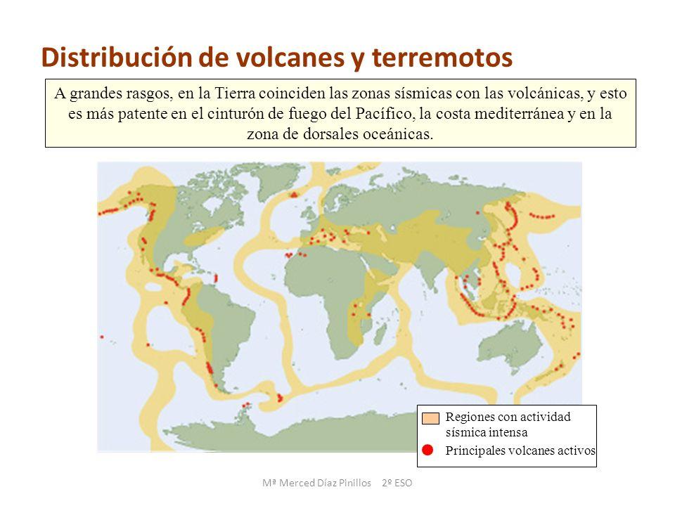 Regiones con actividad sísmica intensa Principales volcanes activos A grandes rasgos, en la Tierra coinciden las zonas sísmicas con las volcánicas, y